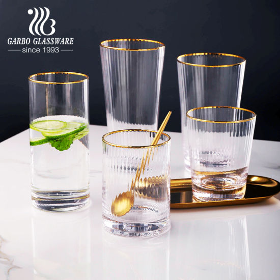 Wholesale Crystal Clear Handmade Luxury Style Highball Glass Beverage Milk Tea Water Coffee Cup with Mouth Gold Rim