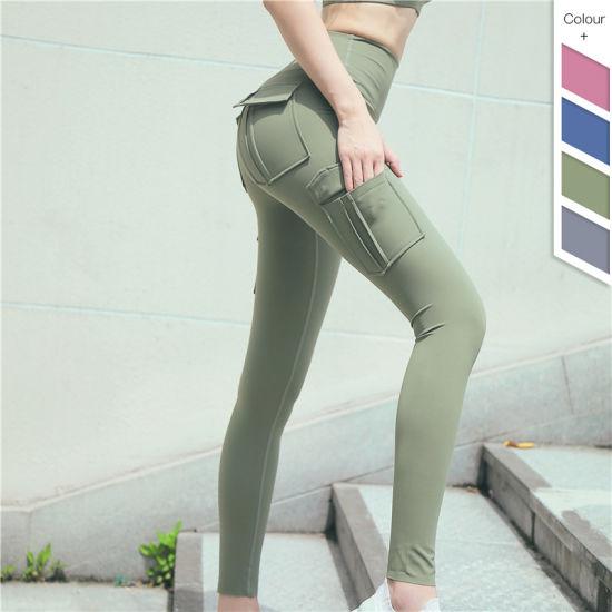 Custom Sports Factory High Waist Yoga Wear Pant Yoga Fitness Leggings with Pockets