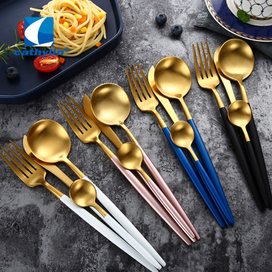 Polish Luxury Gold Plated Colorful Handle Stainless Steel Dinner Cutlery