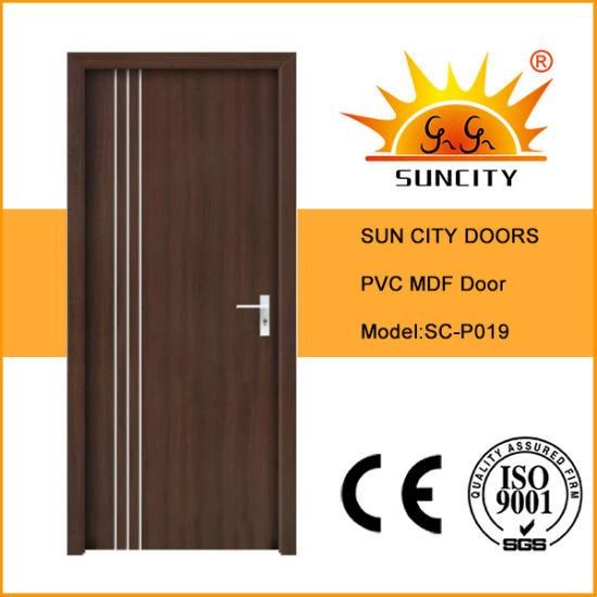 Cheap Modern Bathroom Coated Wood PVC Patio Glass Sliding Door