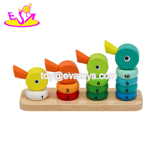 Wholesale Cheap Stacking Duck Blocks Wooden Kids Building Toys for Education W13D156
