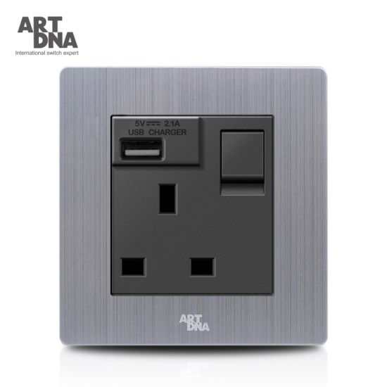 13A BS Switch USB Wall Socket Charger with LED