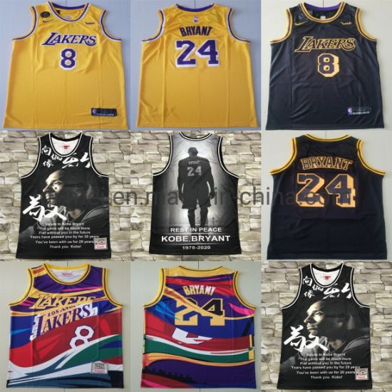 Los Angeles Lakers Salute to 8 24 K-Obe Bryant Basketball Jerseys