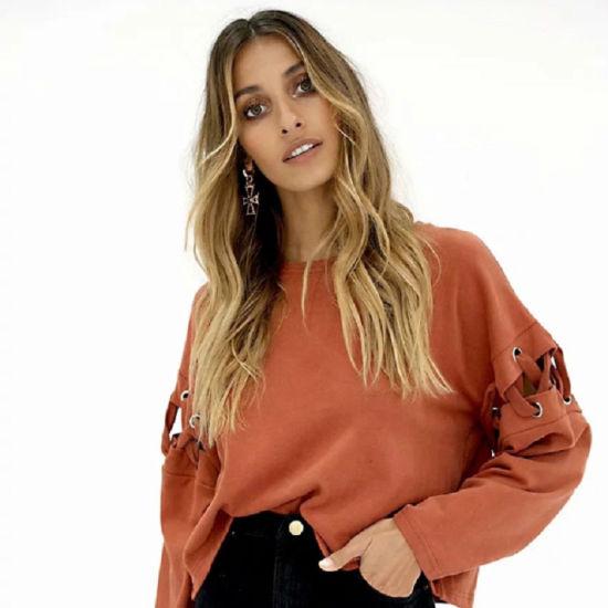 Wholesale Fashion Cotton O-Neck Long Sleeve Sweatshirt Women Hoodies