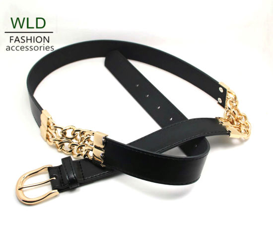 Simple Buckle with Chain PU Belt Ky5991