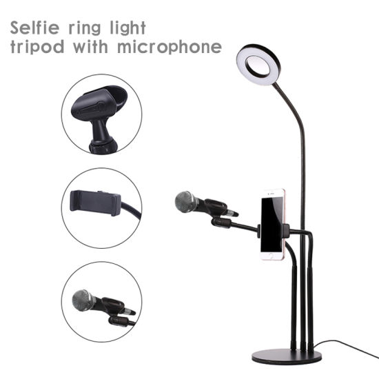 Deluxe LED Light Live Streaming Video Selfie Bracket Live Broadcast Light Phone Holder with 3 Lights 10 Gears Brightness