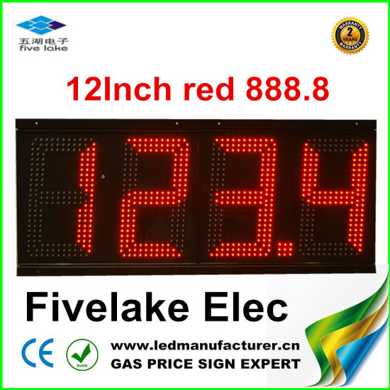 "12"" LED Display for Gas Station Pylon (TT30SF-3R-RED)"
