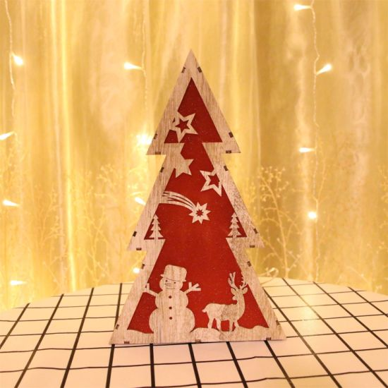 Holiday Decoration Wooden Christmas Tree LED Table Night Light pictures & photos