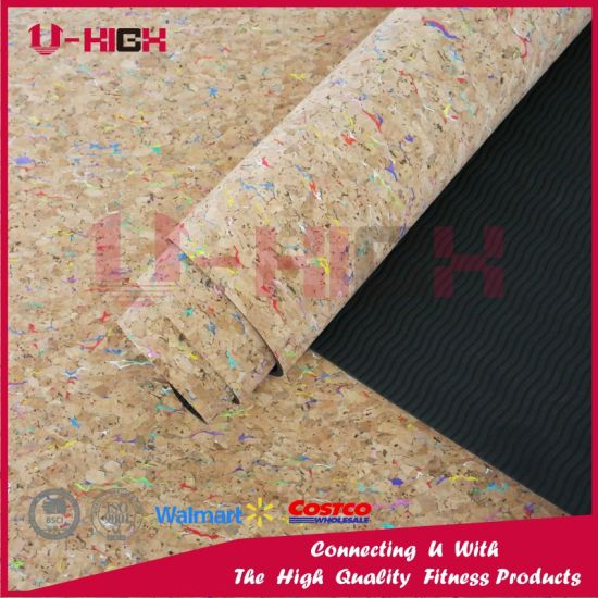 Cork with TPE Color Chips Solid Color TPE Yoga Mat Exercise pictures & photos