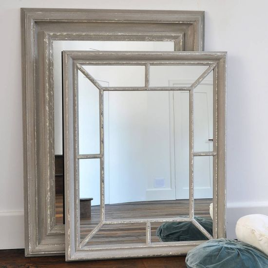 Shabby Chic Antique Wooden Panelled Frame Mirror Home Wall Decor