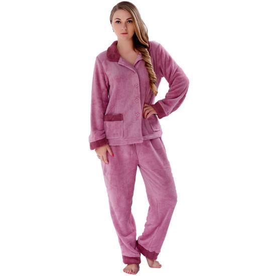 Women Dress Sleepwear Sleeve Pyjamas Coral Sets M-xl Long Fleece Ears Nightwear