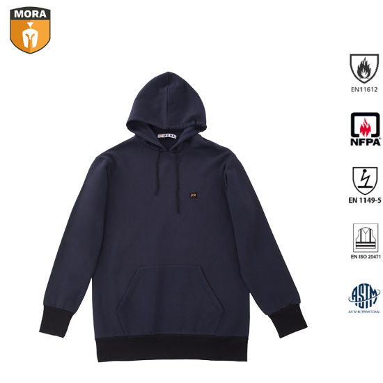 Men′s 100% Fr Cotton Safety Outdoor Comfortable Flame Resistant Hoodie with Drawstring pictures & photos