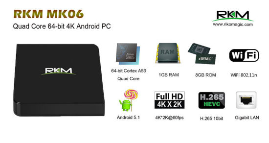 Amlogic S905 Android 5.1.1 Smart TV Box (Mk06) pictures & photos