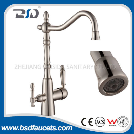 Modern Brushed Nickel Swivel Spout Three Way Kitchen Faucet Water Tap
