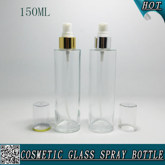 150ml Clinder Cosmetic Clear Glass Bottle with Spray Pump pictures & photos