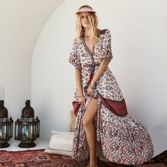 London Style Half Large Sleeve V-Neck Single-Breasted Print Dress
