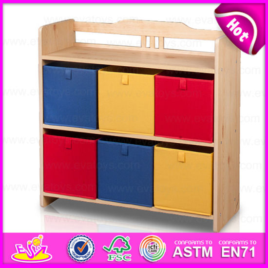 2015 New Cute Kids Wooden Toy Storage Rack, Popular Children Wooden Bin Organizer Toy Storage Rack with 9PCS Plastic Bins W08c038 pictures & photos