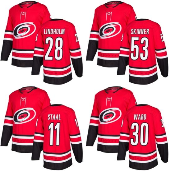 Carolina Hurricanes Jeff Skinner Jordan Staal Elias Lindholm Hockey Jerseys 7717afc25