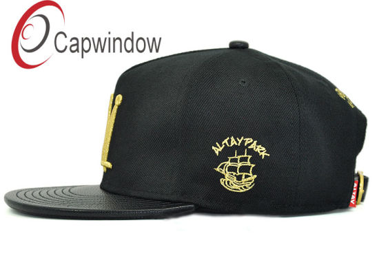 Black Leather Snapback Cap/Sprots Hat with Gold 3D Embroidery pictures & photos