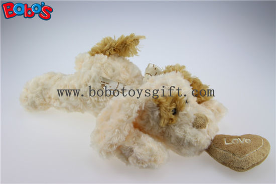 Beige Lying Lovely Plush Dog Toy with Brown Ear and Heart Pillow Bos1189 pictures & photos