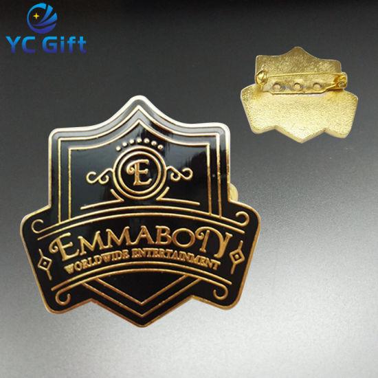 Professional Custom Police Shield Shape Badges Metal Enamel Gold Plated Souvenir Promotion Gift Lapel Pins with Design Logo (BG62)