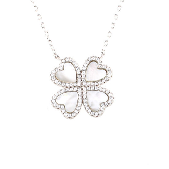 Fashion Jewelry 925 Sterling Silver Diamond Classic Four Leaf Clover Necklace pictures & photos