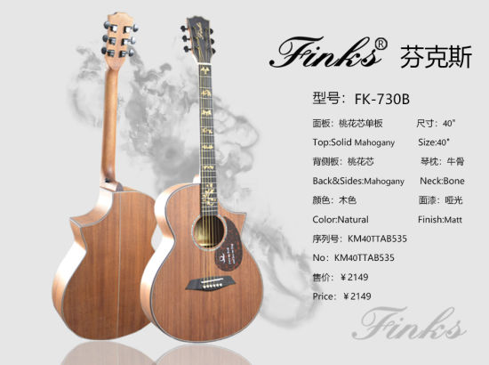 Finks 41 Inch All Mahogany Single Solid Folk & Acoustic Guitar with Right-Angle