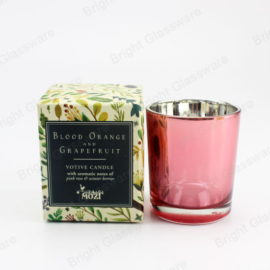 Glass Candle Holder with Custom Machine Made Colorful Packaging Boxes Empty Candle Jars