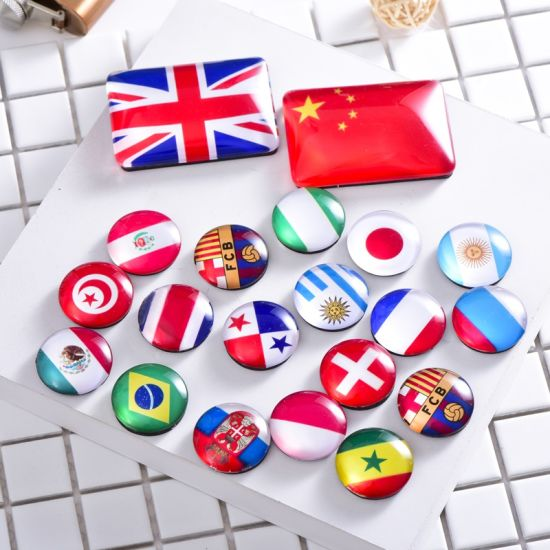 Crystal Glass Refrigerator Magnets National Flag Fridge Stickers Best Souvenir Gift for Office Calendar Whiteboards