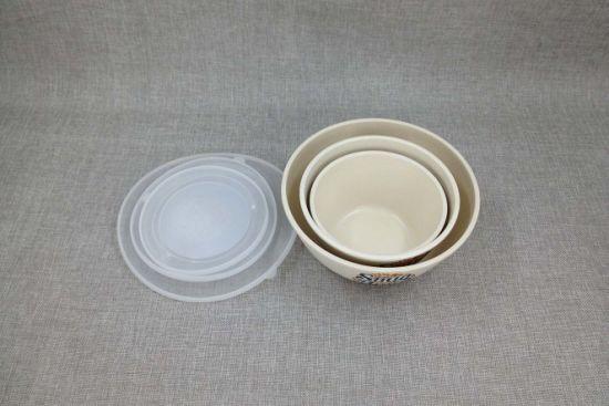 3PCS Set Bamboo Fiber Salad Bowl with Lid