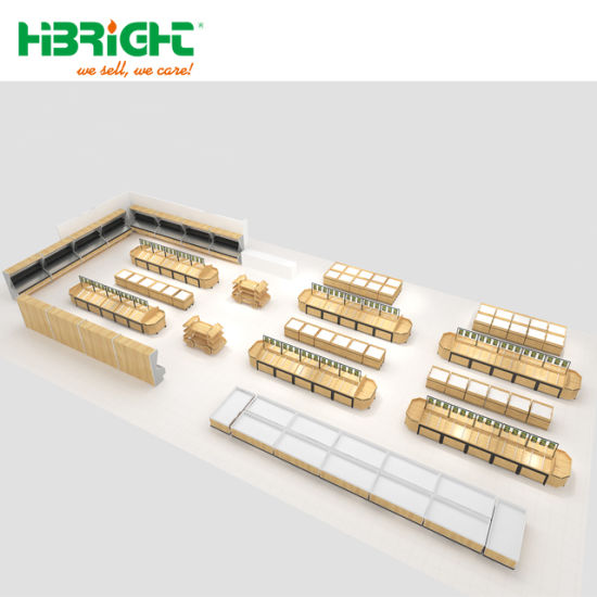 Supermarket Equipment Financing Golden Award Luxury Wooden Vegetable and  Fruit Rack Area Design