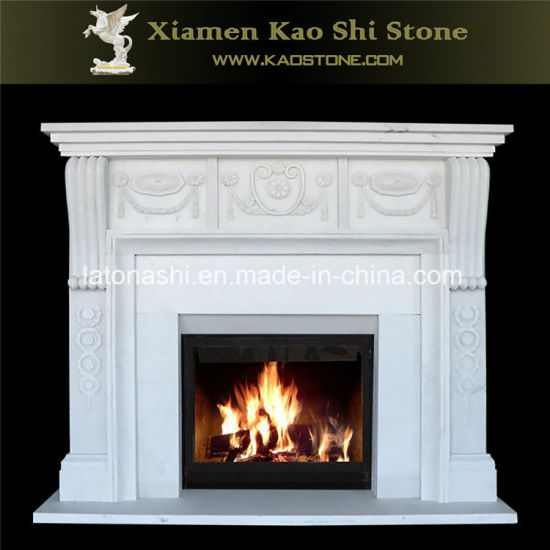 China on Sale White Marble Stone Fireplace Mantel Piece Carved ... f2423d7f8e