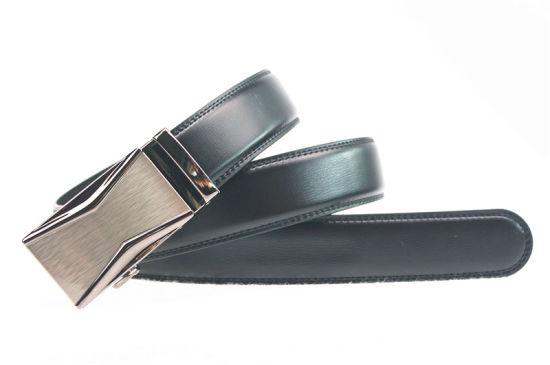 Slive Brushed Automatic Buckle Split Genuine Leather Men Belt