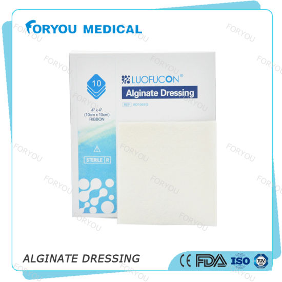 Foryou Medical Absorbs Wound Fluid Sodium Alginate Fiber Silver Alginate Dressing Pad for Exudating Wounds pictures & photos
