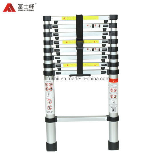 En131-6 Approvaled 13 Step Aluminium Straight Telescopic Ladder with Spacing to Protect The Fingers