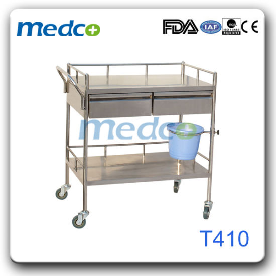 Stainless Steel Surgical Treatment Trolley for Hospital Use pictures & photos