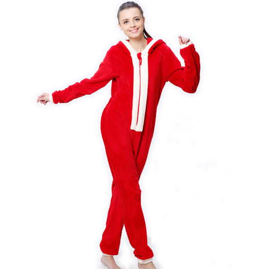 Women Plus Size Coral Fleece Pyjamas Hooded Christmas Costume Onesie Winter Warm Christmas Party Clothes Pajamas for Adult Women pictures & photos
