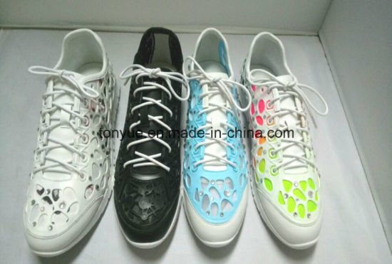 Lady Kpu Rubber with Diamond and Mesh Lining Soft Rubber Outsole Comfortable Sneaker pictures & photos
