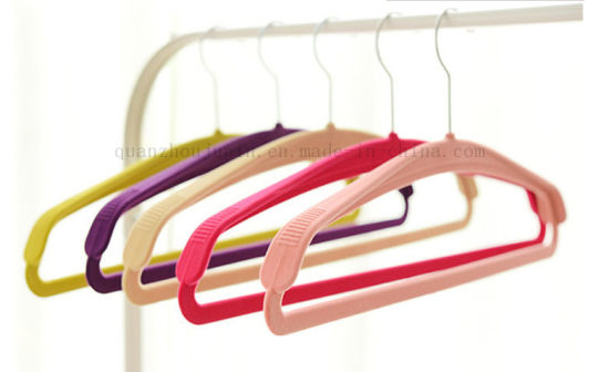 High Quality Wide ABS Suede Anti-Static Clothes Hanger pictures & photos
