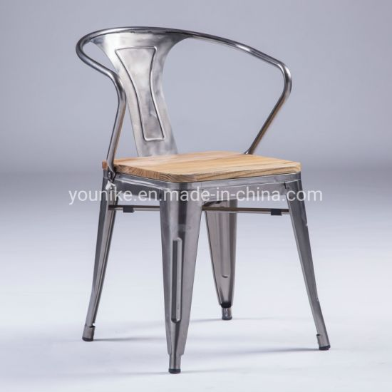 Awesome China Industrial Armchair Tolix Metal Dining Chair Wood Seat Machost Co Dining Chair Design Ideas Machostcouk