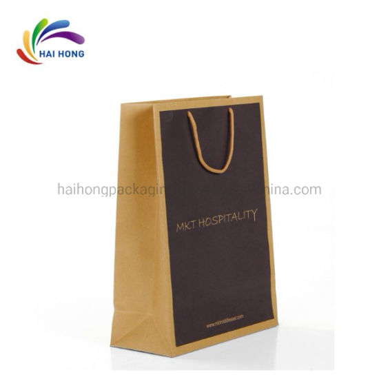 Wholesale Custom Size Full Color Printing Reusable Brown Crafts Paper Bag pictures & photos