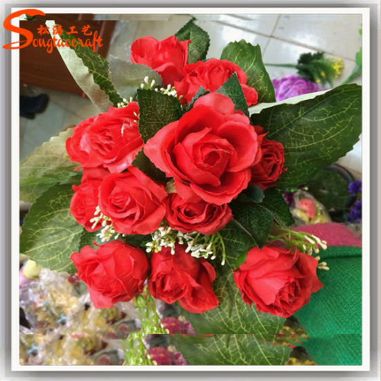 Hot Sale Artificial Fabric Red Rose Bouquet Flower for Wedding Decoration
