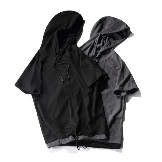 6ffe3346b7d742 China Customized Kangaroo Pocket Drawstring Short Sleeve Hoodie ...