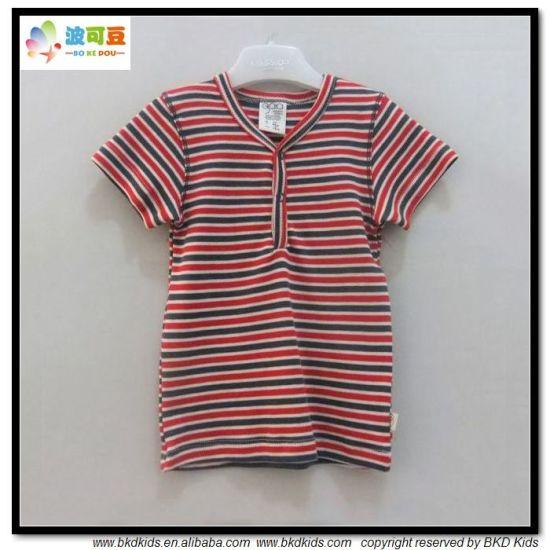 Stripe Printing Baby Wear V-Neck Baby Boy T-Shirt