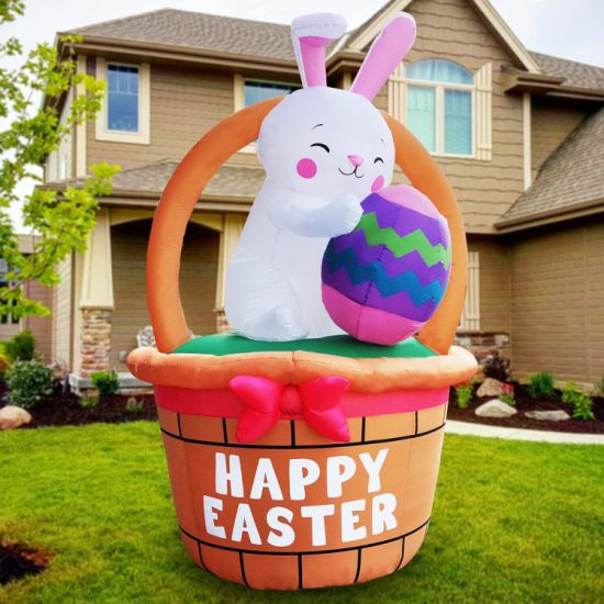 Inflatable Bunny with Basket with LED Light for Outdoor Easter Celebration Use
