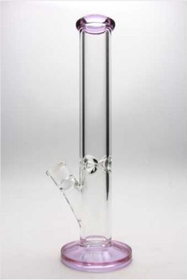 15 Inches Tall Pink Wholesale New Hot Ice Pinch Straight Tube Glass Water Pipe