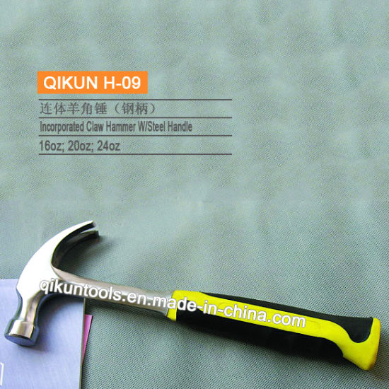 H-09 Construction Hardware Hand Tools Steel Handle Incorporated Claw Hammer pictures & photos