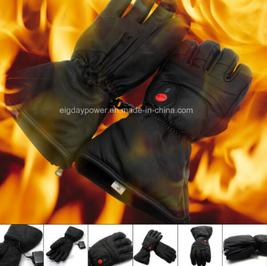 Savior Leather Heated Glove for Outdoor Sport, Winter Use, Ski, Hunting, Cycling, Motobike, Riding, Golf, Fishing, Full Real Leather Design