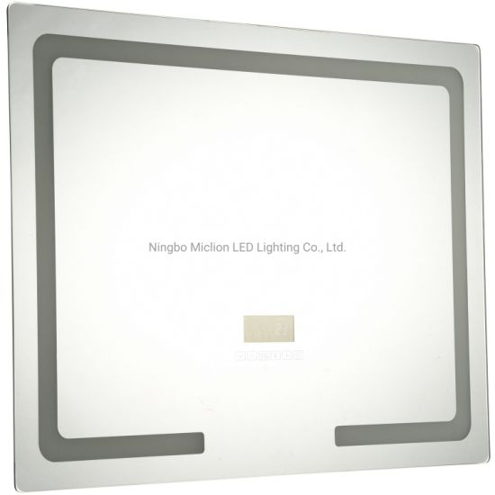China Custom Illuminated Bathroom Light Mirror with Demister Anti Fog Touch Button