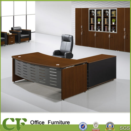 Modern Wooden Furniture Office Executive Table With Side Cabinet